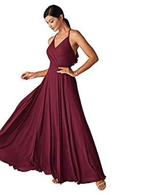 Alicepub Halter Burgundy Bridesmaid Dresses for Women Long Formal Prom Dress with Ruffled Back, US4