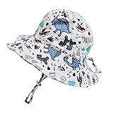 Sombrero para el Sol para niños pequeños Sombrero de Cubo de Dinosaurio de Verano para niños UPF50 Sombrero de Playa de ala Ancha Gorra con Forro de Malla para bebés y niñas de 3-6 Meses