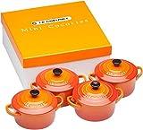Le Creuset Set di Mini Cocotte, 4 Pezzi, Rotondo, 200 ml, 10 x 5 cm, Gres, Arancio