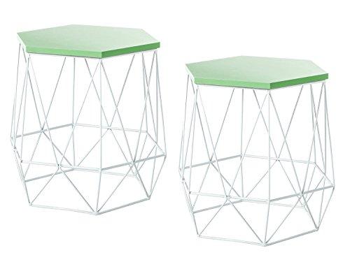 Dynamic24 2 x metalen bijzettafel, salontafel, tafel, opbergplank, sofatafel, nachtkastje, groen en wit
