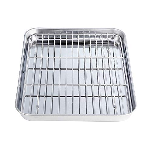 WEZVIX Stainless Steel Baking Sheet with Rack Set Tray Cookie Sheet & Oven Pan 12 x 9 x 1 inch, Non Toxic & Healthy, Rust Free & Less Stick, Thick & Sturdy, Easy Clean & Dishwasher Safe