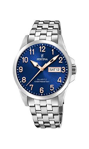Festina Unisex Erwachsene Analog Quarz Uhr mit Edelstahl Armband F20357/B