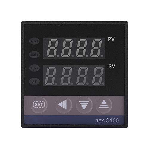 Oumefar Interruptor de termostato AC 110V-240V REX-C100 Controlador de termostato Industrial Funciones automáticas para energía eléctrica con Sensor de termopar K