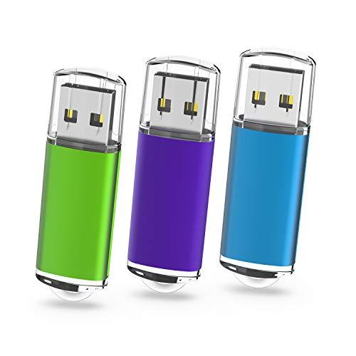 USB-Sticks 64GB, TOPESEL 3 Stück USB 2.0 Speicherstick USB-Flash-Laufwerk Flash Drives Memory Sticks (Grün Lila Blau)