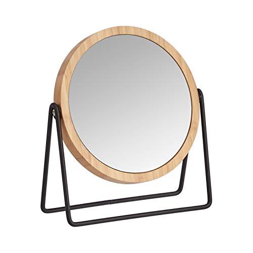 AmazonBasics – Kosmetikspiegel mit Bambus-Umrahmung, Vergrößerung 1-fach/5-fach