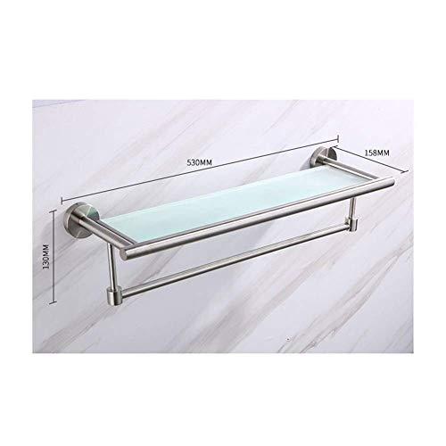 WPLHH Estante de baño de cristal estante de baño estante de pared de baño toallero Basle rectangular estante de almacenamiento Caddy cesta de baño (color: plata) 0815
