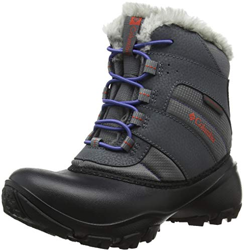 Columbia Girls Rope Tow III Waterproof Faux-Fur Boot Snow, ti Grey Steel/red Canyon, 3 Big Kid
