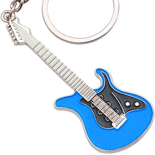 keepdrum E-Gitarre Schlüsselanhänger Keyring aus Metall Blau