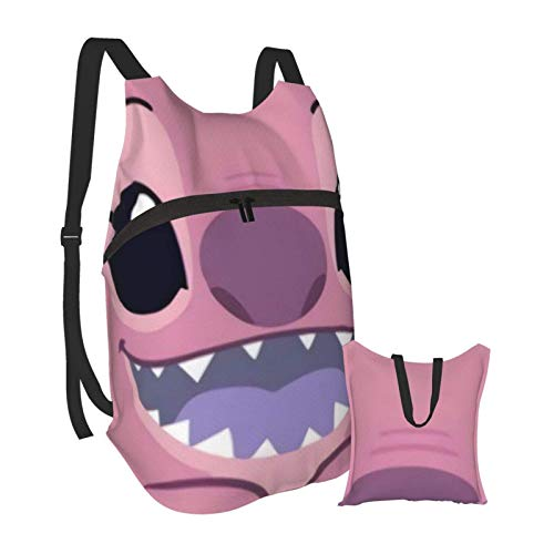 Cute Lilo Stitch Pink Background Folding Portable Backpack Lightweight Packable Backpacks Travel Hiking Daypack Water Resistant Camping Outdoor Foldable for Men Women Travel Hiking Waterproof Backpack
