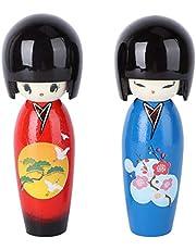 Kisangel 2 Piezas Muñeca Japonesa Kokeshi Kokeshi Muñeca de Madera Adorno de Niña Kimono Muñecas de Niña Decoración del Hogar Adornos de Artesanía (Estilo Aleatorio)