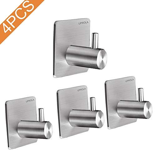Uprola Direct 4PCS Adhesive Hooks, Premium Stainless Steel Heavy Duty Wall Hooks