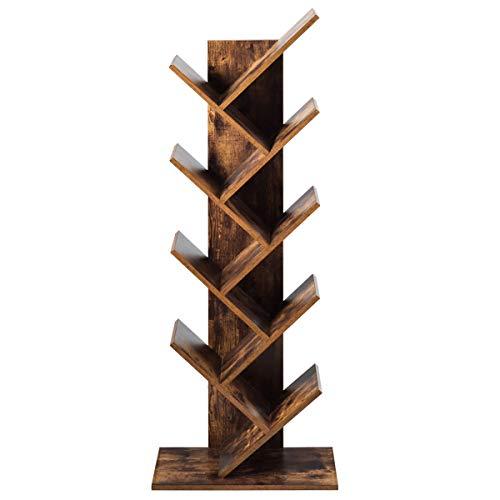 COSTWAY Bücherregal Holz, Bücherschrank 8 Ebenen, Standregal Vintage, Würfelregal braun, Aufbewahrungsregal 51x28x140cm