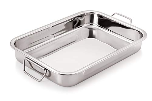 Chef Direct Stainless Steel Roast Pan with Folding Handles // Rectangular Lasagna Pan for Baking, Roasting, Grilling, OTG Oven Safe (Length 35cm X Width 24cm)