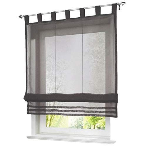 ESLIR Raffrollo mit Schlaufen Raffgardinen Gardinen Küche Transparent Schlaufenrollo Vorhänge Modern Voile Grau BxH 120x155cm 1 Stück