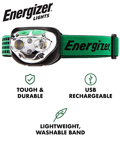 Energizer VISION LED Headlamp Flashlight, USB Rechargeable, 400 High Lumens, IPX4 Water Resistant, 7 Modes, Best Headlight for Camping, Running, Outdoors, Emergency Light
