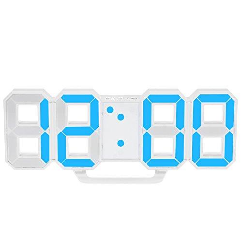 Decdeal Orologio Digitale a Parete a LED 12h/24h Tempo di Visualizzazione con Allarme e Snooze Regolazione della Luminosità