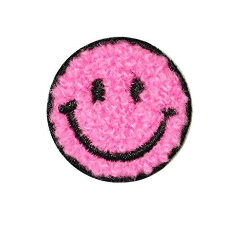 Parche Velcro 12Pc Toalla Bordado Cara Sonriente Cosiendo En Parche-Rosa Roja 12Pc