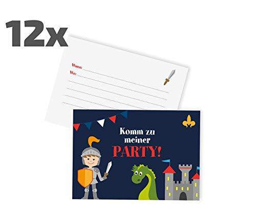 Ideenverlag 12x Ritter Einladungskarten zum Kindergeburtstag / Party / Drachen / Ritterparty / Schwert / Geburtstagseinladungen / Einladungen / Geburtstag / Kinder / Jungen / Mädchen / Karten