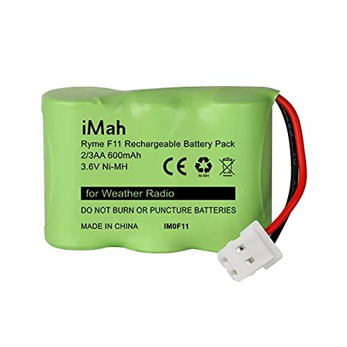 iMah Ryme F11 2/3AA600 3.6V 600mAh Ni-MH Battery Pack, fits Kaito KA500 KA550 KA600 Eton FR200 FR250 FR300 FR350 FR370 FR400 FR405 FR600 Weather Radio