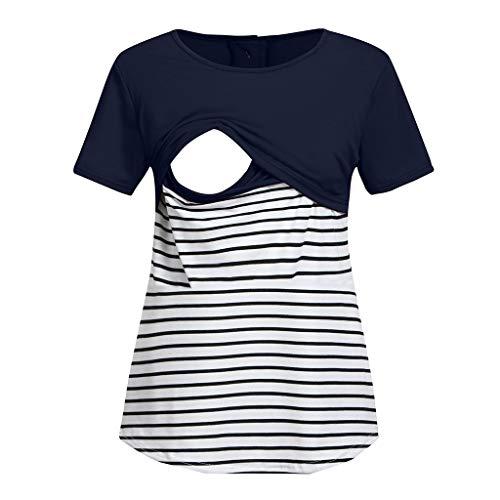 Gugavivid Women Maternity Short Sleeve Stripe Splicing Mom Nursing Baby Tops T-Shirt