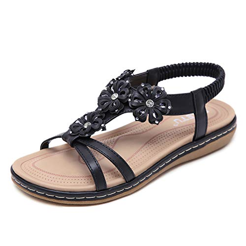 ZAPZEAL Damenmode Hausschuhe Damen Sommer Lässig Offene Zehe Flache Sandalen Süße Perlen Klippzehe Vintage Flip Flops Breathable Comfy Beach Schuhe,Schwarz 42 EU
