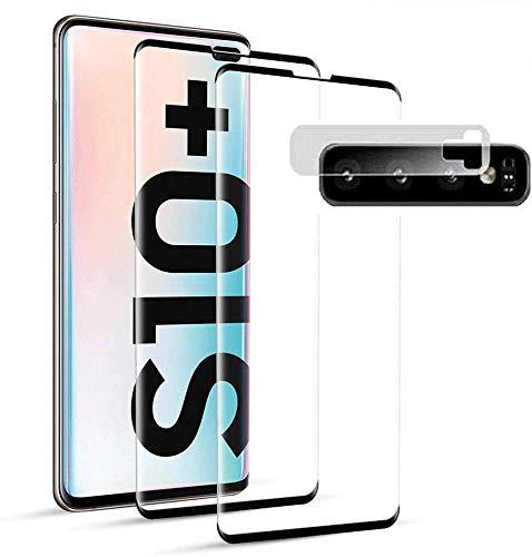 QDADZD Panzerglas Schutzfolie für Samsung Galaxy S10+ / S10 Plus,[2 Stück] Fingerabdrucksensor Kompatible,3D Vollständige Abdeckung, Linse Schutzfolie, 9H Härte,Displayschutzfolie für Galaxy S10 Plus