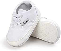 RVROVIC Baby Boys Girls Shoes Canvas Toddler Sneakers Anti-Slip Infant First Walkers 12Color (13cm (12-18months), White)