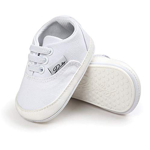 RVROVIC Baby Boys Girls Shoes Canvas Toddler Sneakers Anti-Slip Infant First Walkers 12Color (11cm (0-6months), White)