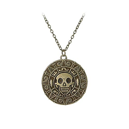 WYFLL Collar con diseño de calavera de piratas del Caribe azteca de oro con forma de calavera de la película europea y americana