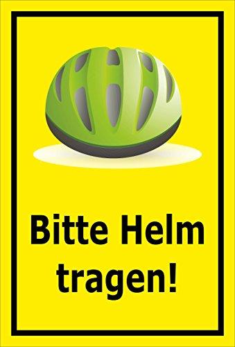 Melis Folienwerkstatt sticker schild - Gelieve helm te dragen - S00050-090-C 60x40cm – selbstklebender Aufkleber