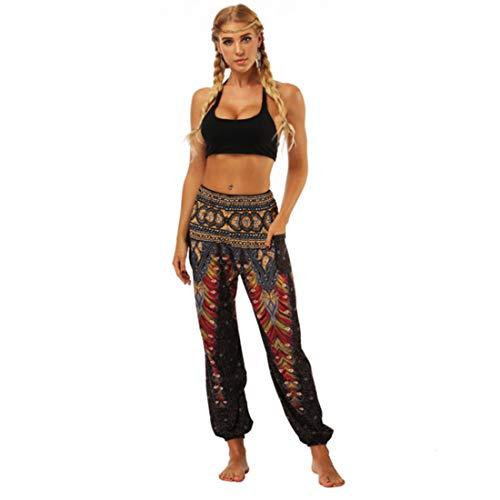 Aiweijia Damen Yogahose Bloom Pants Haremshose zum Bedrucken weicher Kleiner Füße mit elastischer Boho Style Trainingshose für Damen mit Tasche