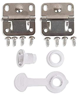 Coleman Ice Chest Cooler Replacement Stainless Steel Hinges and Screws Set & Standard Drain Plug Assembly - 1 Shaft Length Combo/Bundle