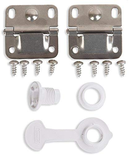 Coleman Ice Chest Cooler Replacement Stainless Steel Hinges and Screws Set & Standard Drain Plug Assembly - 1' Shaft Length Combo/Bundle