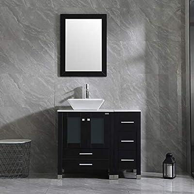"Wonline 36"" Black Bathroom Vanity and Sink Combo Wood Cabinet Top Square Ceramic Vessel Sink Faucet Drain Combo with Mirror Vanities Set"