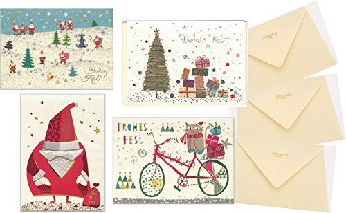 4 verschiedene Weihnachtskarten mit Umschlag - hochwertige Prägung, mit Blanko-Innenseiten für Weihnachtsgrüße, Motive: Katze, Nikolaus, Tannenbaum und Wald