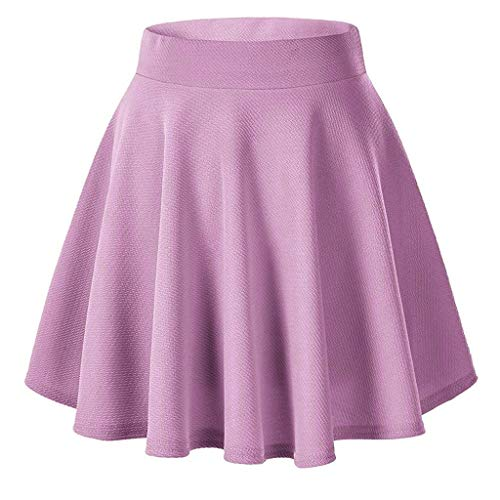 Damen Röcke, VEMOW Frauen Sommer Party Cocktail Hohe Taille Skater Karneval Mini Rock(Y2-Rosa, L(Waist:68-78cm))