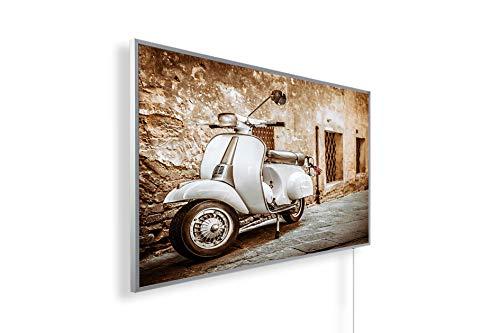 Bildheizung Infrarotheizung mit Digitalthermostat für Steckdose - 5 Jahre Herstellergarantie- Elektroheizung mit Überhitzungsschutz (Italien Roller weiß;600W)