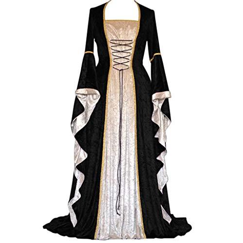 SHINEHUA dames middeleeuwse jurk satijn trompetmouwen vloerlang retro kostuum gewand gothic renaissance Victoriaans prinses kleding heksenkostuum gewand