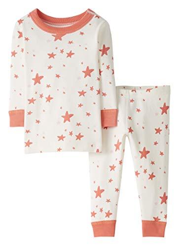 Moon and Back de Hanna Andersson - Conjunto de pijama de 2 piezas de manga larga, hecho de algodón orgánico y con estampado de estrellas para bebé, Coral Star, 3 años (87-97 CM)