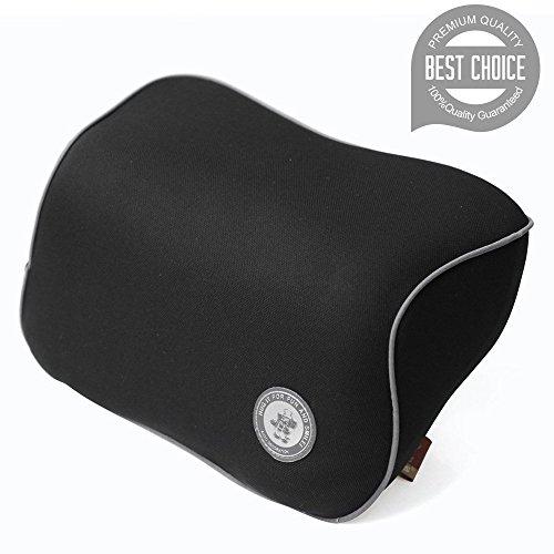 FMS Auto-nekkussen, hoofdkussen, traagschuim, autokussen en vervikaal kussen met verwijderbare afdekking voor autostoel zwart