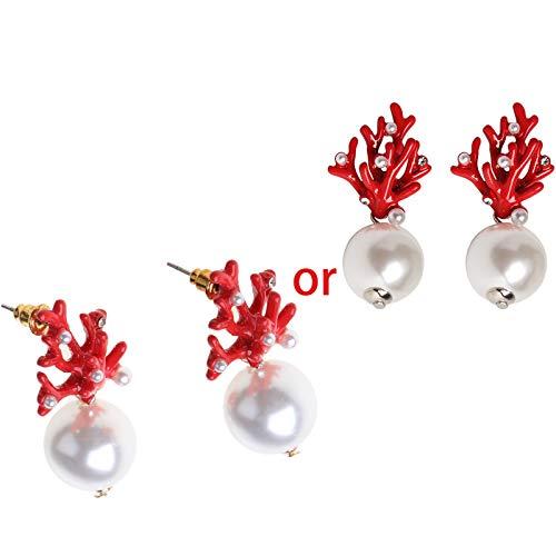 SUCHUANGUANG Mujeres acrílico Esmalte Rojo Coral Resina astas Perla Pendientes de Moda Pendientes de joyería Rojo