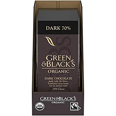 Green & Black's Organic Dark Chocolate 70% Cacao, 10 Count