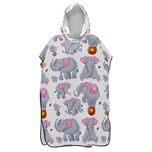 LORONA - Albornoz Cambiador de Playa con diseño de Elefantes Grises de Secado rápido para Hombres y Mujeres