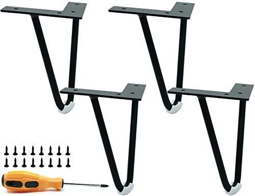 LONGZG Lot de 4 pieds de table en métal noir en forme de V - Pour canapés, tables basses, tables de chevet, armoires TV, armoires et autres meubles - Avec tapis de protection de sol (15 cm)