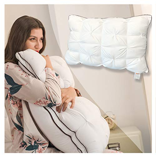 Pillows Super Support Luxury Hotel Sleeping Pillow, Mothers Day Birthday Gifts, Duvet Technology, Adjustable Height Soft Comfortable and Ultra Bounce Pillow, Removable Pillowcase 30 x 20 inch
