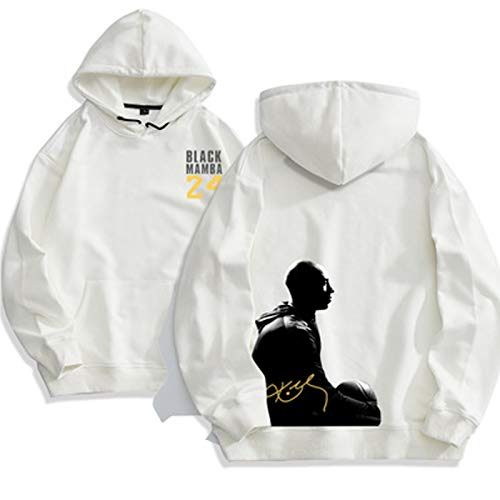 GLMAS Lakers # 24 Kobe Bryant Men's Baloncesto Pullover, Pullover Baloncesto Sudadera Impresa Sollow Sportswear Suéter Pullover (S-3XL) White-M