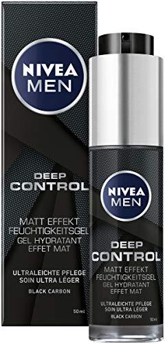 NIVEA MEN Deep Control Matt Effekt Feuchtigkeitsgel im 2er-Pack (2 x 50 ml), mattierende Feuchtigkeitspflege fürs Gesicht, Moisturizer mit Black Carbon
