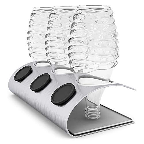 nobellgo Abtropfhalter Für z.B. Sodastream Crystal Glaskaraffen Flaschen, Zubehör, aus Edelstahl inklusive Deckelhalterung und Abtropfschale, Flaschenhalter, Platz Für 3 Flaschen und 3 Deckel