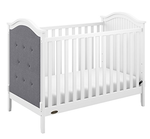 Graco Linden Upholstered 3-in-1 Convertible Crib, White/Gray Easily Converts to Toddler Bed & Day Bed, 3-Position Adjustable Height Mattress