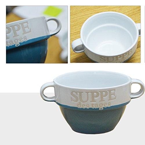 DRULINE 4er-Set Suppentasse Suppe Schüssel Suppenschüssel Tasse Weiß Keramik (Blau)
